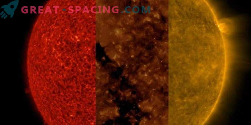 Die Sonne bei drei verschiedenen Wellenlängen