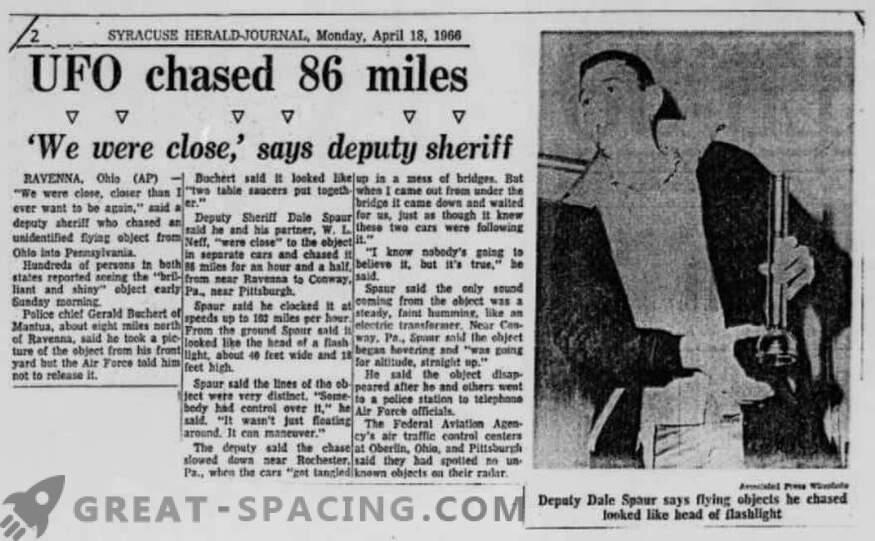 Incident v Portridgeu - 1966. Policija je opisala zasledovanje neznanega predmeta
